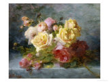 Pink and Yellow Roses Giclee Print by Andre Perrachon