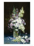 Lilac and Summer Flowers in a Glass Vase Giclee Print by Louis-Remy Matifas