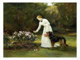 In the Rose Garden Giclee Print by Heywood Hardy