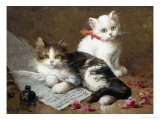 Young Feline Author Giclee Print by Leon Charles Huber