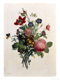 Bouquet of Rose and Lily of the Valley Giclee Print by Jean Louis Prevost