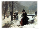 In the Jardins du Luxembourg, Paris, Feeding the Birds Giclée-Druck von Vincenta De Parades