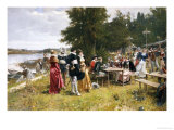 The Picnic Along the River Shore Giclee Print by Adrien Moreau