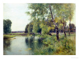 River Landscape in Summer Reproduction procédé giclée par Ernest Parton