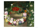 Swag of Beautiful Summer Flowers and Strawberries Giclée-Druck