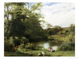 Gathering Watercress on the River Mole, Surrey Giclee Print by William Frederick Witherington