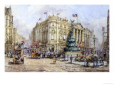 Piccadilly Circus and Shaftesbury Avenue Giclee Print by John Sutton