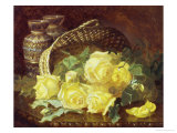 Basket of Yellow Roses Giclee Print by Eloise Harriet Stannard