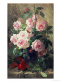 Still Life of Pink Roses Giclee Print by Frans Mortelmans