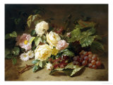 Still Life with of Summer Flowers and Grapes Giclee Print by Henri Robbe