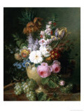 Rich Still Life of Summer Flowers Giclee Print by Cornelis van Spaendonck