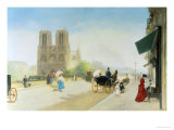 Summer Day near Notre Dame Giclee Print by Emile Friant