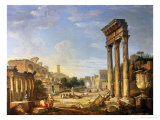 The Forum, Rome Giclee Print by Giovanni Paolo Pannini