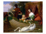 Queen Henrietta Maria of England and Her Children on the River Impression giclée par Frederick Goodall