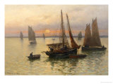 Breton Fishing Boats at Sunset Giclee Print by Louis Timmermans