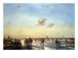 Skaters on a Frozen River Impression giclée par Jan Evert Morel