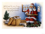 Father Christmas Speaking on the Phone Giclee Print