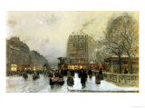 Parisian Street Scene in Winter Giclee Print by Luigi Loir