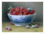 Bowl of Raspberries Giclée-Druck von William B. Hough