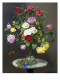 Still Life with Roses in a Glass Vase Giclee Print by Otto Didrik Ottesen
