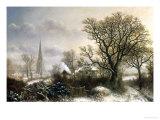 Yardley Church, near Birmingham, in the Snow Reproduction procédé giclée par Charles Leaver