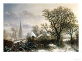 Yardley Church, near Birmingham, in the Snow Giclee Print by Charles Leaver