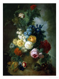 Still Life of Roses and Delphiniums Giclee Print by Georgius Jacobus J. van Os