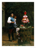 Admiring the Flower Arrangement Giclée-Druck von Jean Georges Vibert