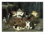 The Mischievous Cats Giclée-Druck von Charles Van Den Eycken
