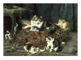 The Mischievous Cats Giclee Print by Charles Van Den Eycken