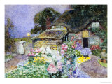 Cottage Garden at Sunset Gicléetryck av David Woodlock