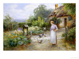 Feeding the Doves Giclée-Druck von Ernest Walbourn