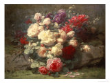 Bouquet of Pink Roses and Scented Stocks Giclee Print by Jean Baptiste Claude Robie