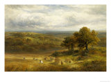 Harvesting near Barrow, Derby Giclee Print by George Turner