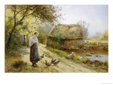 Bright Day by the River, Feeding the Ducks Giclee Print by Ernest Walbourn