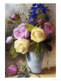 Roses and Delphinium in a Vase Giclée-tryk af Charles Slater