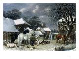 Snowy Farmyard Giclee Print by John Frederick Herring I