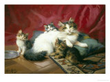 Cosy Family Giclee Print by Leon Charles Huber