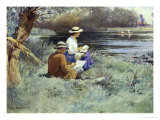 Sketching by the River Giclee Print by William Blacklock