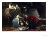 Mischief with a New Hat Reproduction procédé giclée par Henriette Ronner-Knip