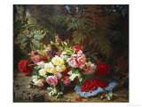 Still Life with Roses and Raspberries Giclee Print by Jean Baptise Robie