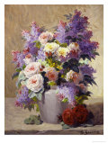 Still Life of Roses and Lilacs Giclee Print by Georges Jeannin