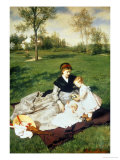 Mother and Two Children in a Field Impression giclée par Merse Pal Szinyei