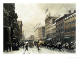 New York, Winter Scene in Broadway, c.1857 Reproduction procédé giclée par Hippolyte Victor Valentin Sebron
