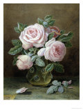 Pink Roses in a Glass Vase Giclee Print by William B. Hough