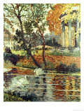 Walk by the River on an Autumn Day Giclee Print by Eugene Chigot