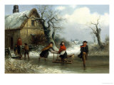 Skaters on a Pond Giclee Print by Thomas Smythe