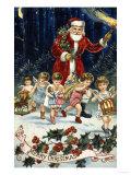 Father Christmas and His Merry Band - Giclee Baskı