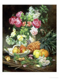 Still Life of Flowers and Fruit Giclee Print by Louis Marie De Schryver