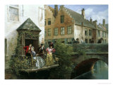 Fishing on a Canal in Bruges Giclee Print by Georges Jules Auguste Cain